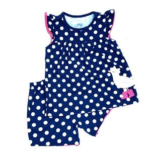 Carter's Pajama Set Navy Blue Polka Dot Size 7